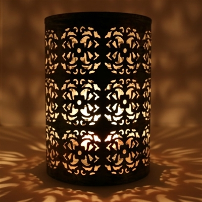 Cylindrical Metal Votive Candle Holder With An Intricate